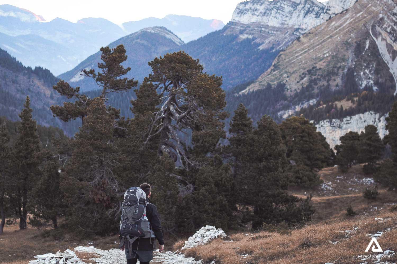 Hiker on a hiking tour