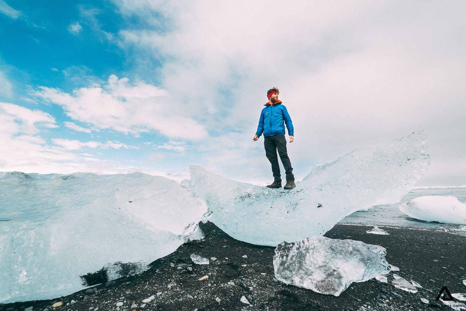 Man standing on a grounded iceberg