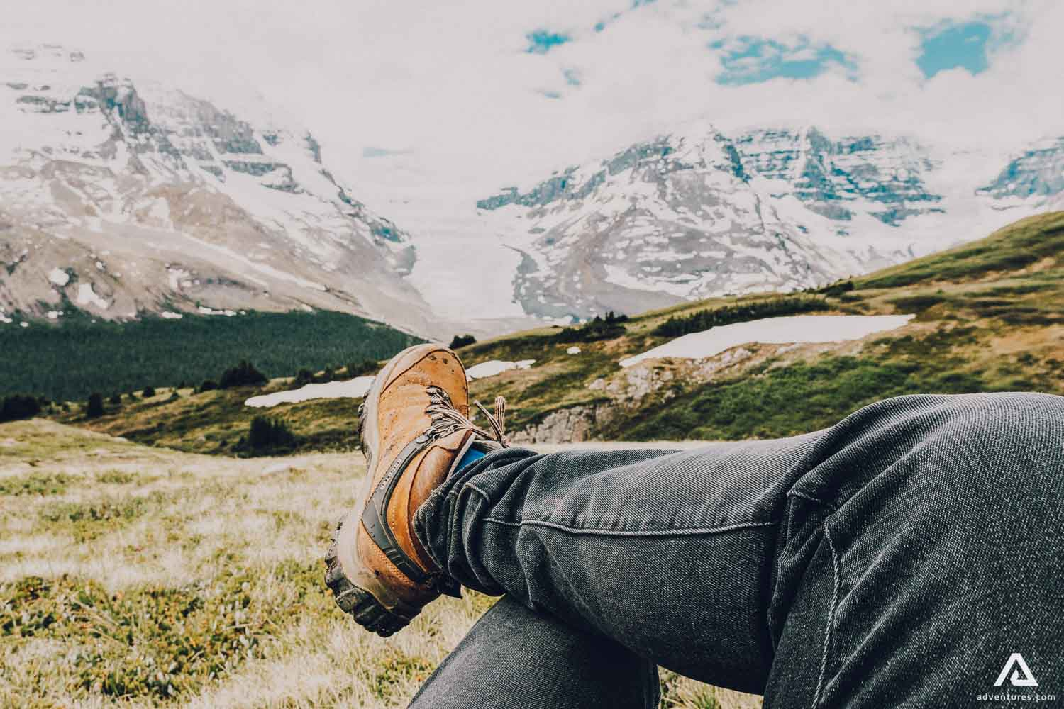 Taking a rest with mountain view