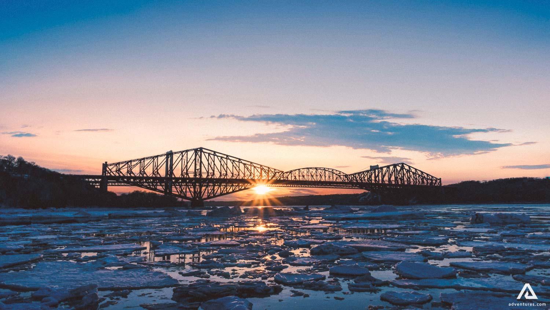 Quebec City bridge in winter