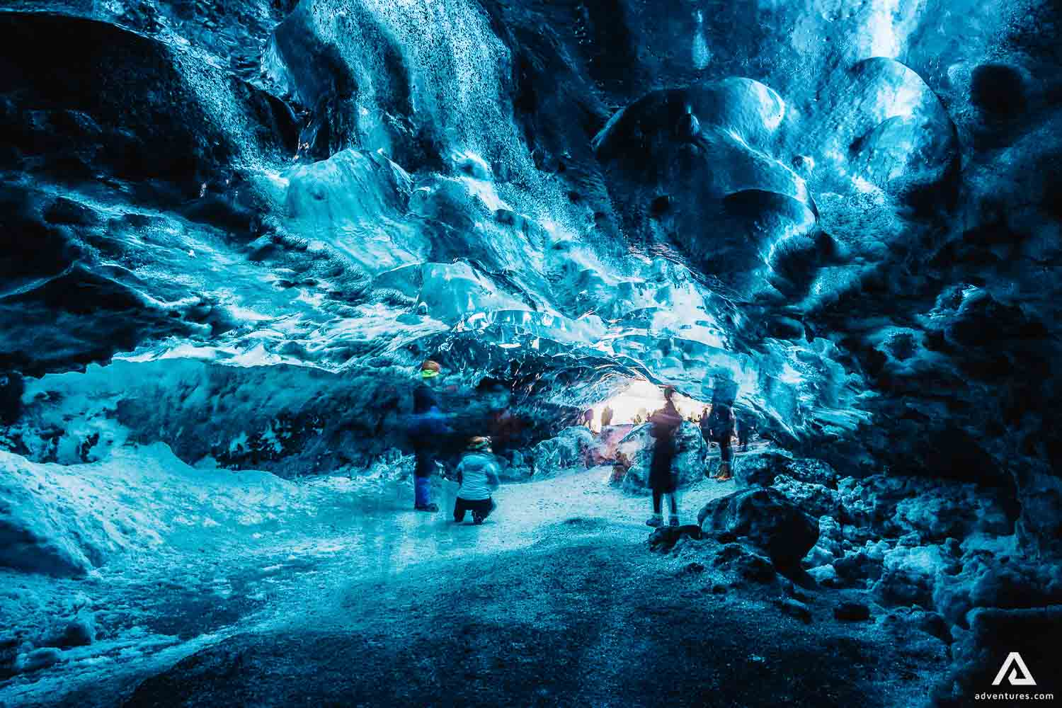 Blue ice cave exploring