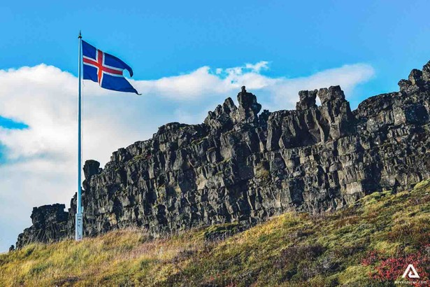 Iceland country flag in Tingvellir Park