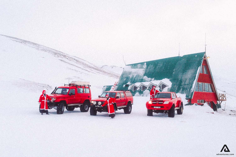 Santa clauses in Kerlingarfjoll near huts