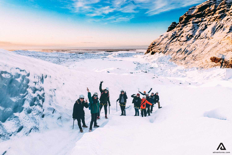 Happy people on Glacier Hiking