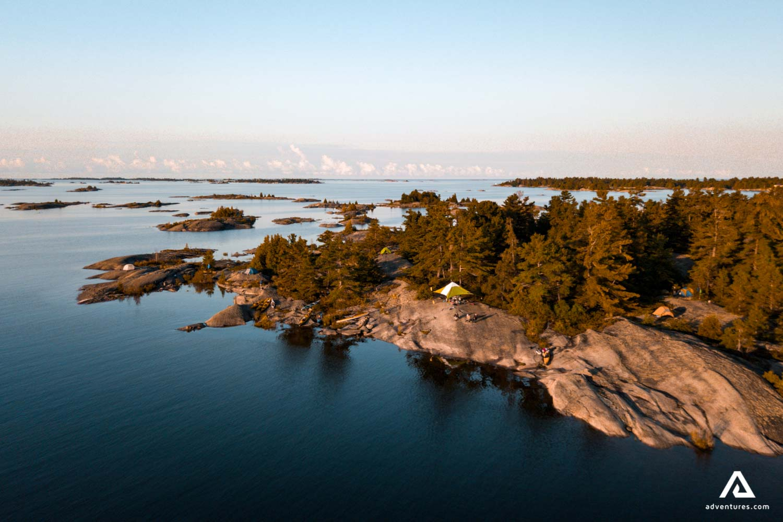 Sea rocky island aerial view