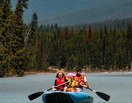 Canoeing on the Kootenay River in British Columbia