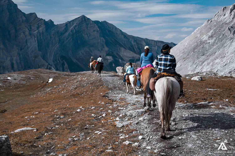Horseback riding in Canada mountains