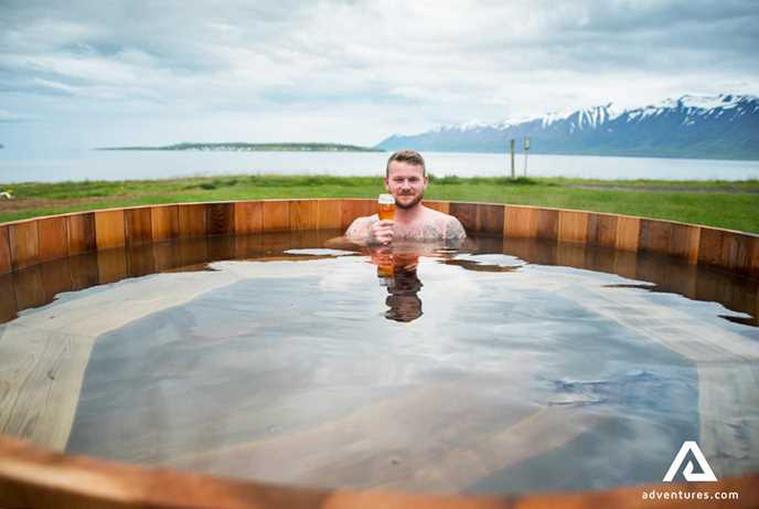 Beer Spa outdoor area in North Iceland