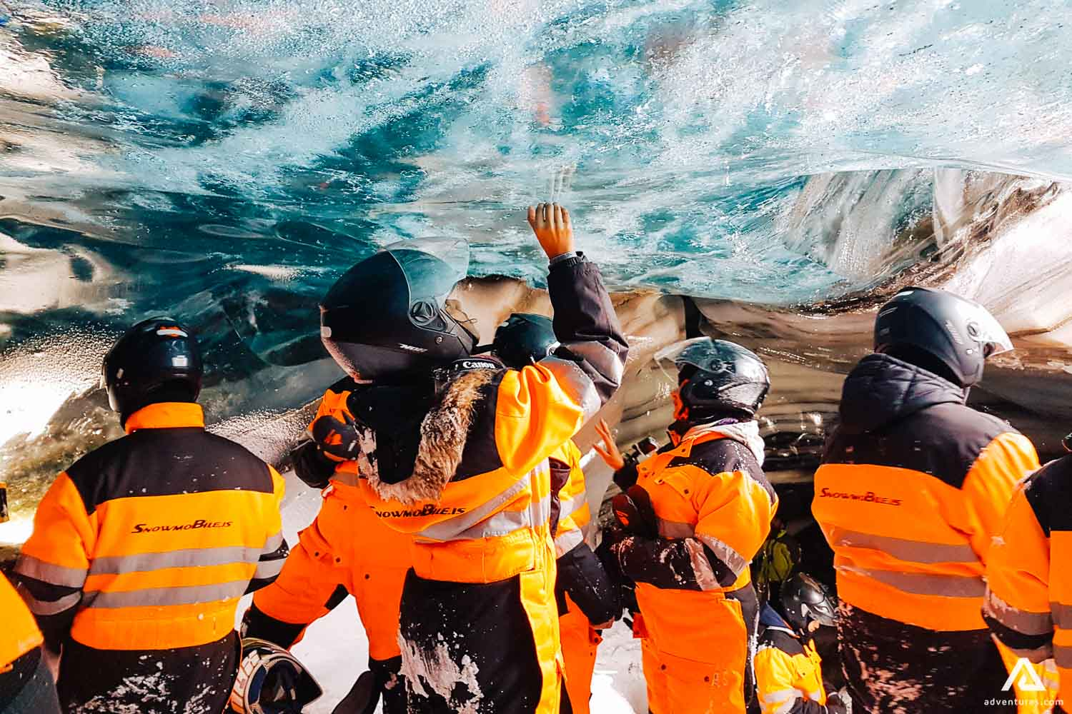 People visit ice cave