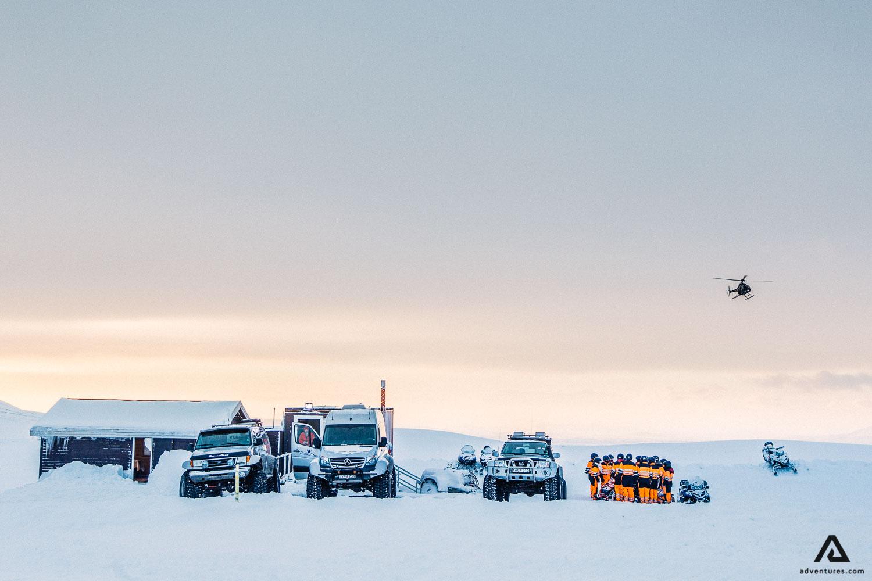 Snowmobile Langjokull glacier