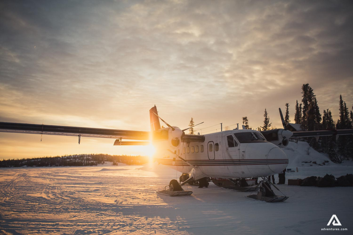 Airplane on the snowy ground