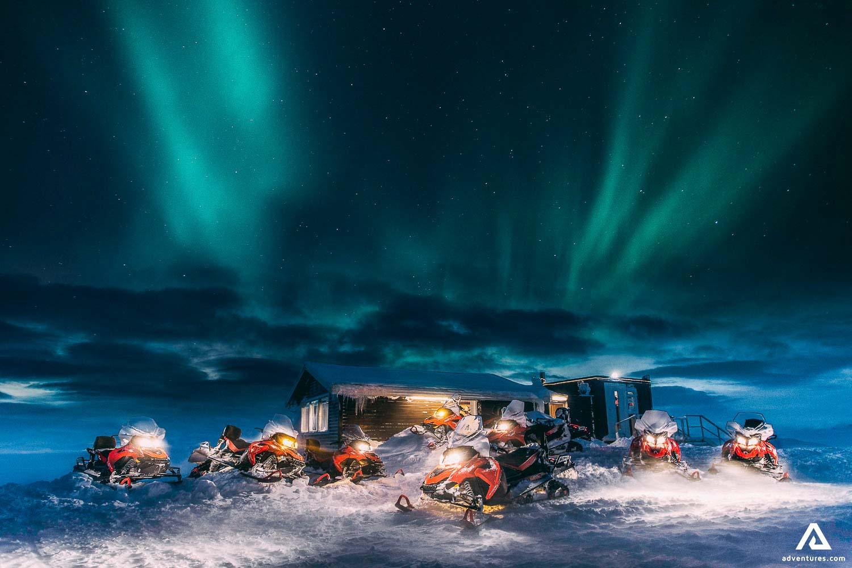 Snowmobiling basecamp at night
