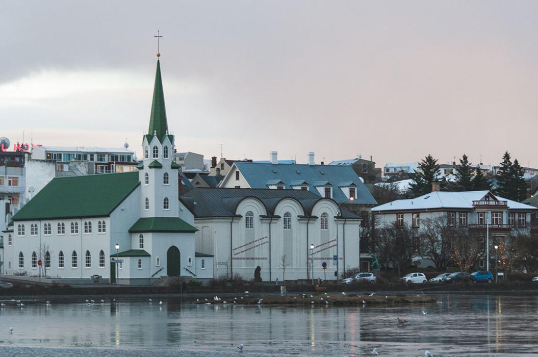 Frikirkjan Church (the Free Church of Reykjavik) Stands Ashore of Tjornin Pond in Reykjavik, Iceland