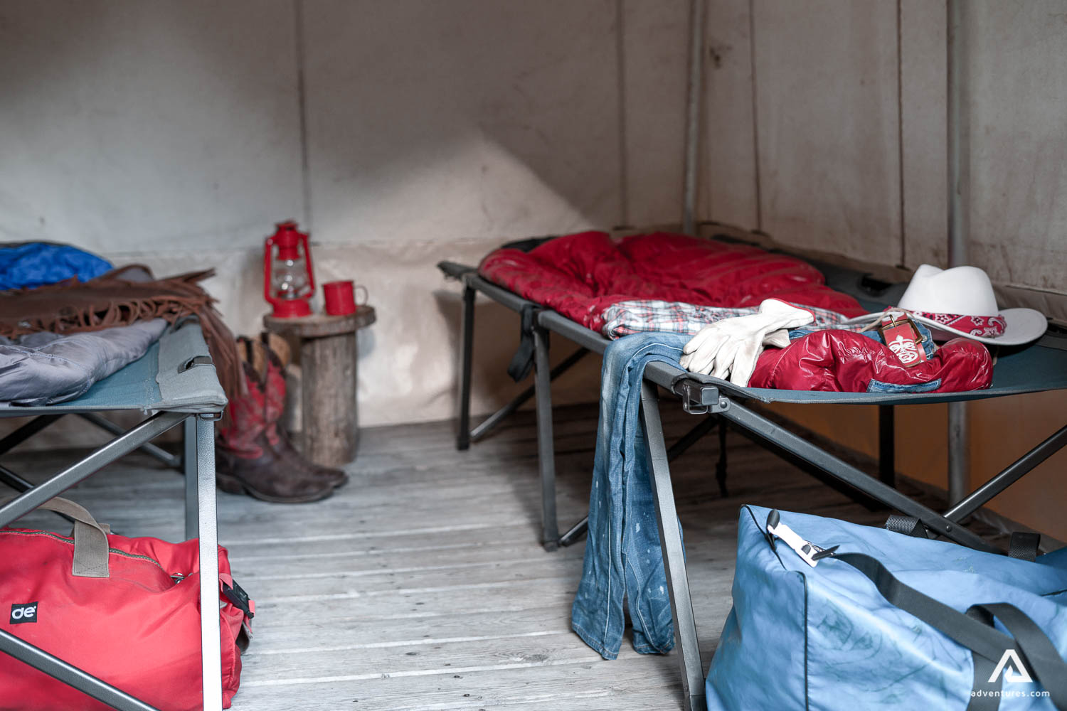 Beds inside tents