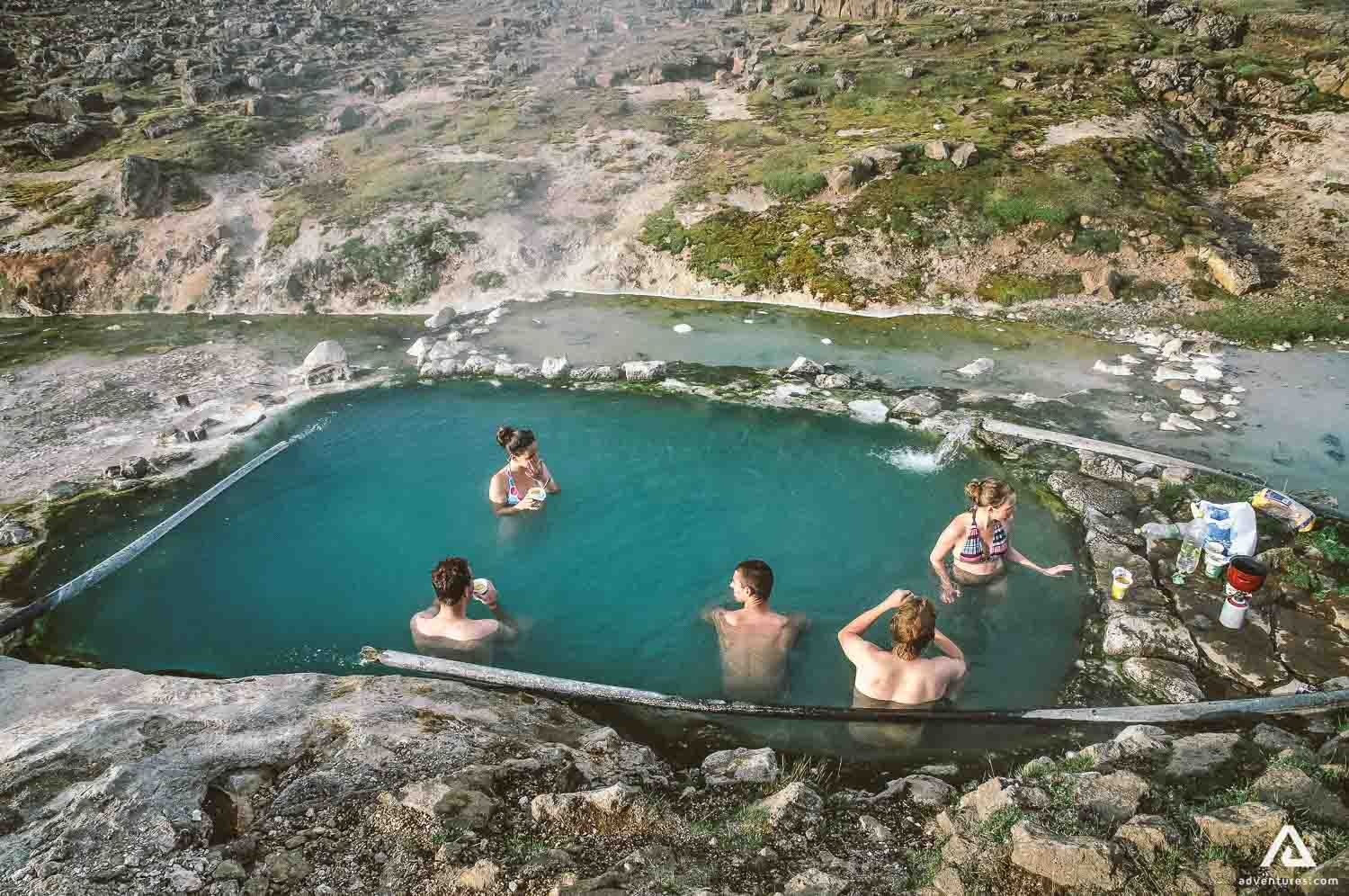 Natural hot pool with a view in the Westfjords