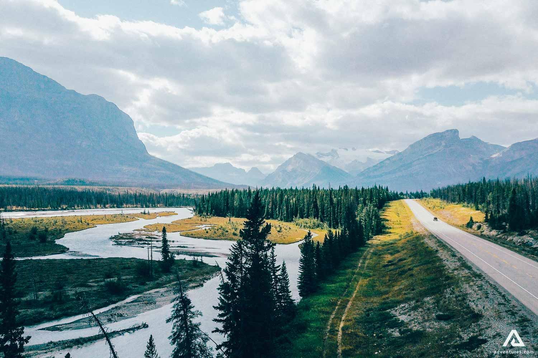 River near Road in Canada