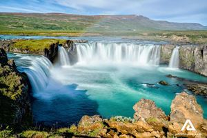 Godafoss Waterfall Cascade
