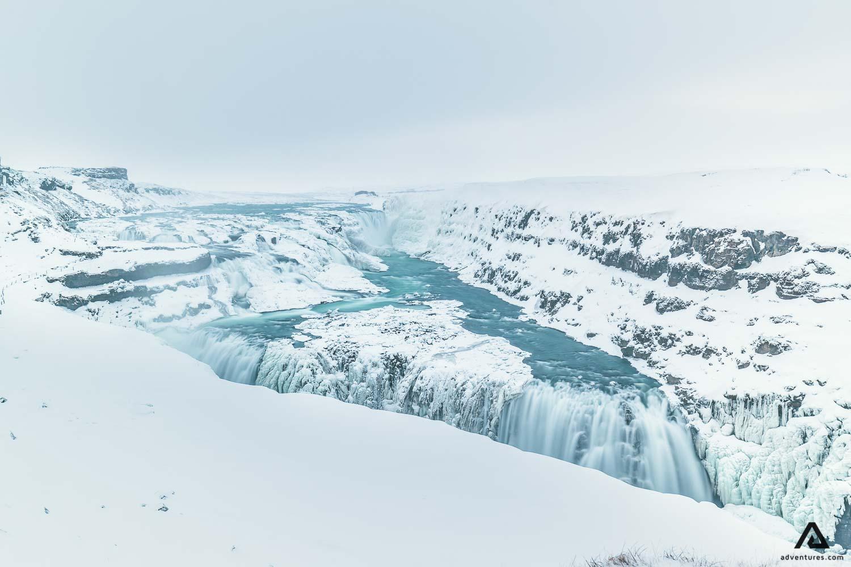 Snowy waterfall in Gullfoss