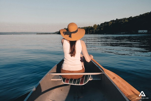 Woman canoeing on the Lake