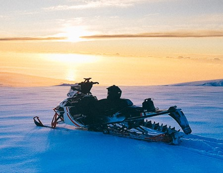 Snowmobile on Eyjafjallajokull Volcano