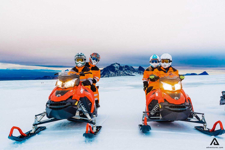 Glacier snowmobiling on Langjökul Glacier