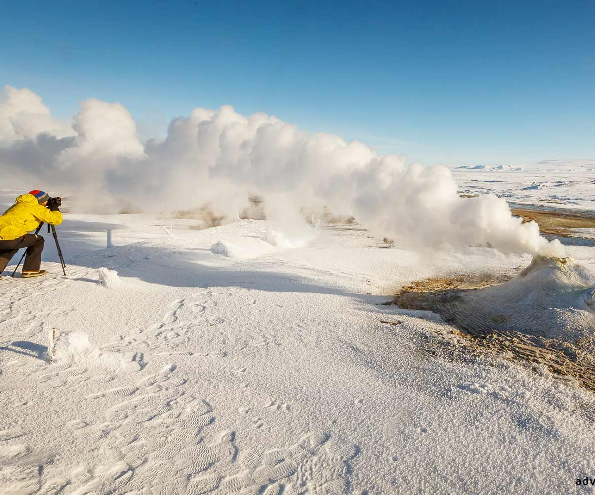 Steamy fumaroles around Hveravellir