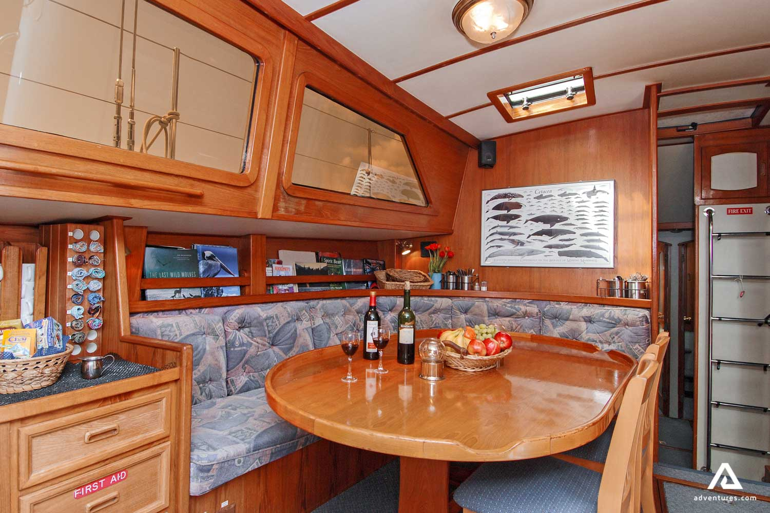 Dining table in a sailing boat