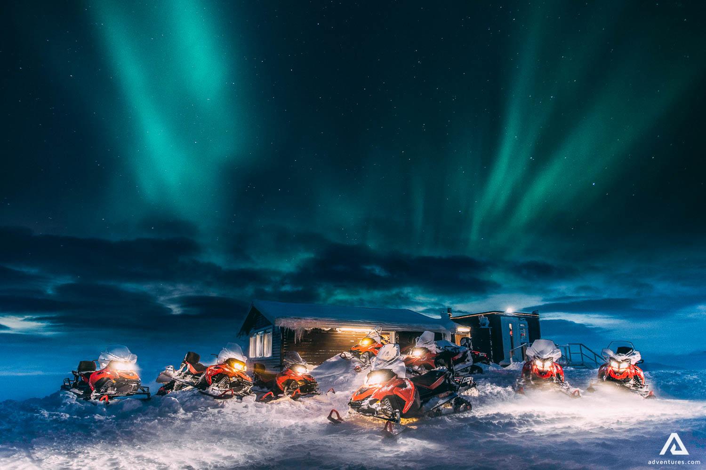 Snowmobile base camp on Langjokull