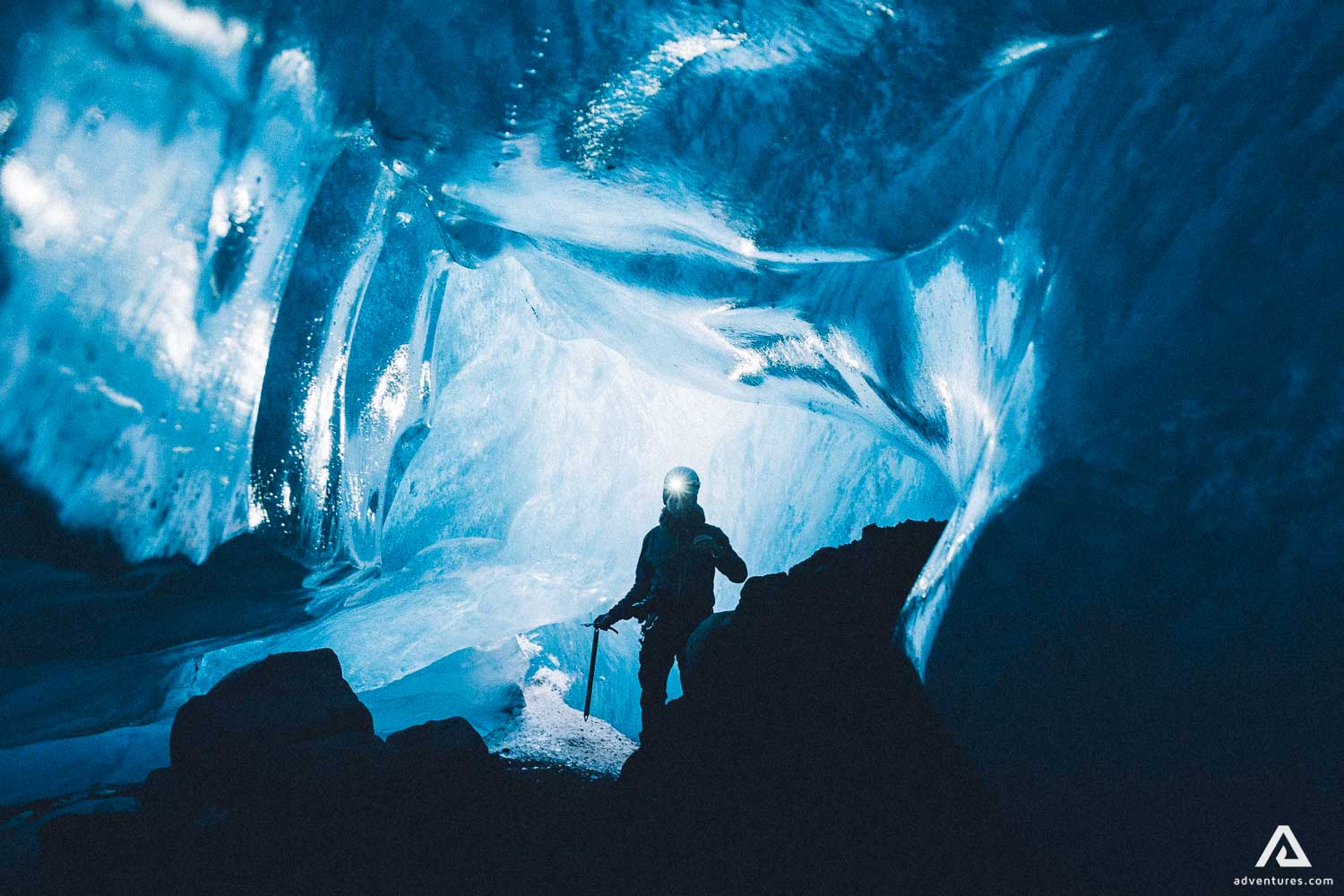 Crystal blue ice cave