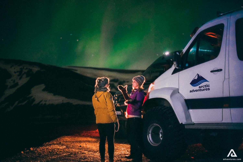 Girls watching Northern Lights