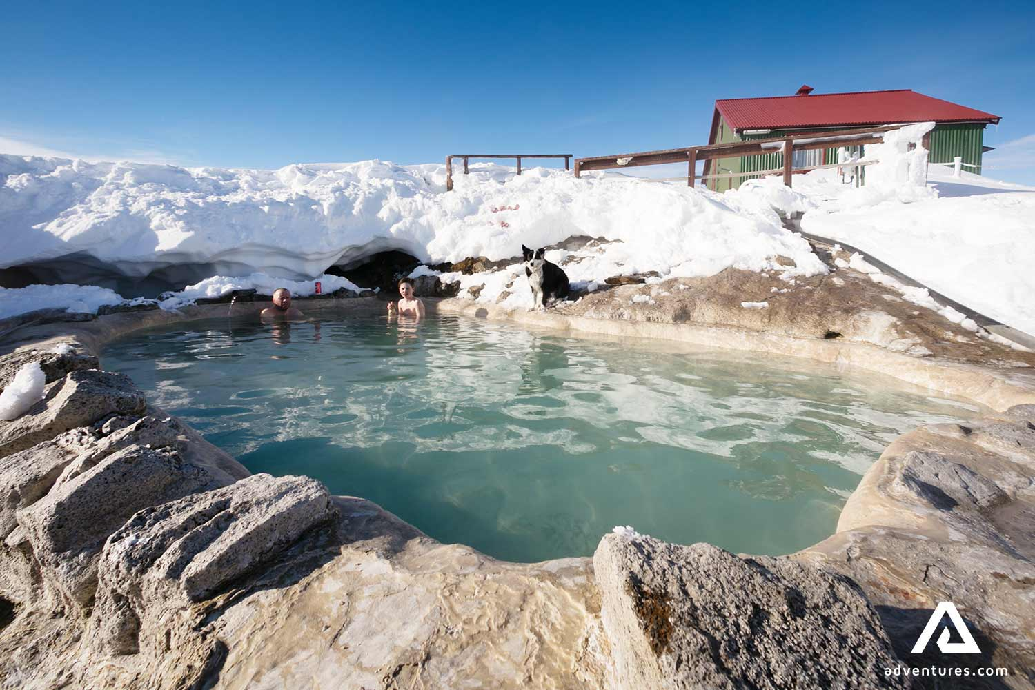 The Hveravellir thermal pool in winter