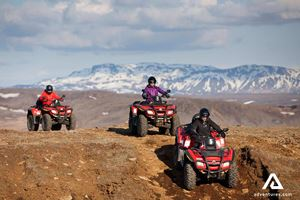 ATV Quad Winter Snow Mountain Group Of People