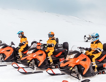 Snowmobile tour on langjokull glacier